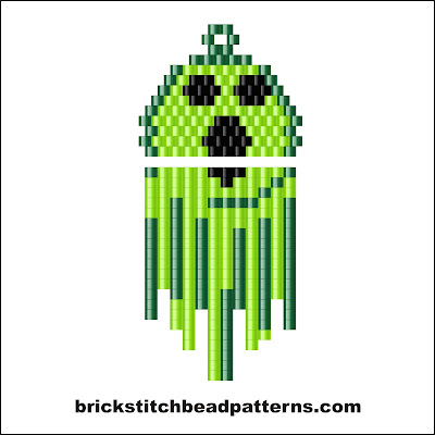 Click for a larger image of the Ghostly Ghoul Halloween brick stitch bead pattern color chart.