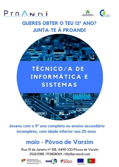Curso de aprendizagem – Técnico(a) de Informática e Sistemas – Póvoa de Varzim (para obter o 12º ano)