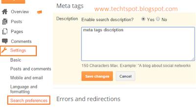 Add Meta Tags Description To Blogger Blog 1