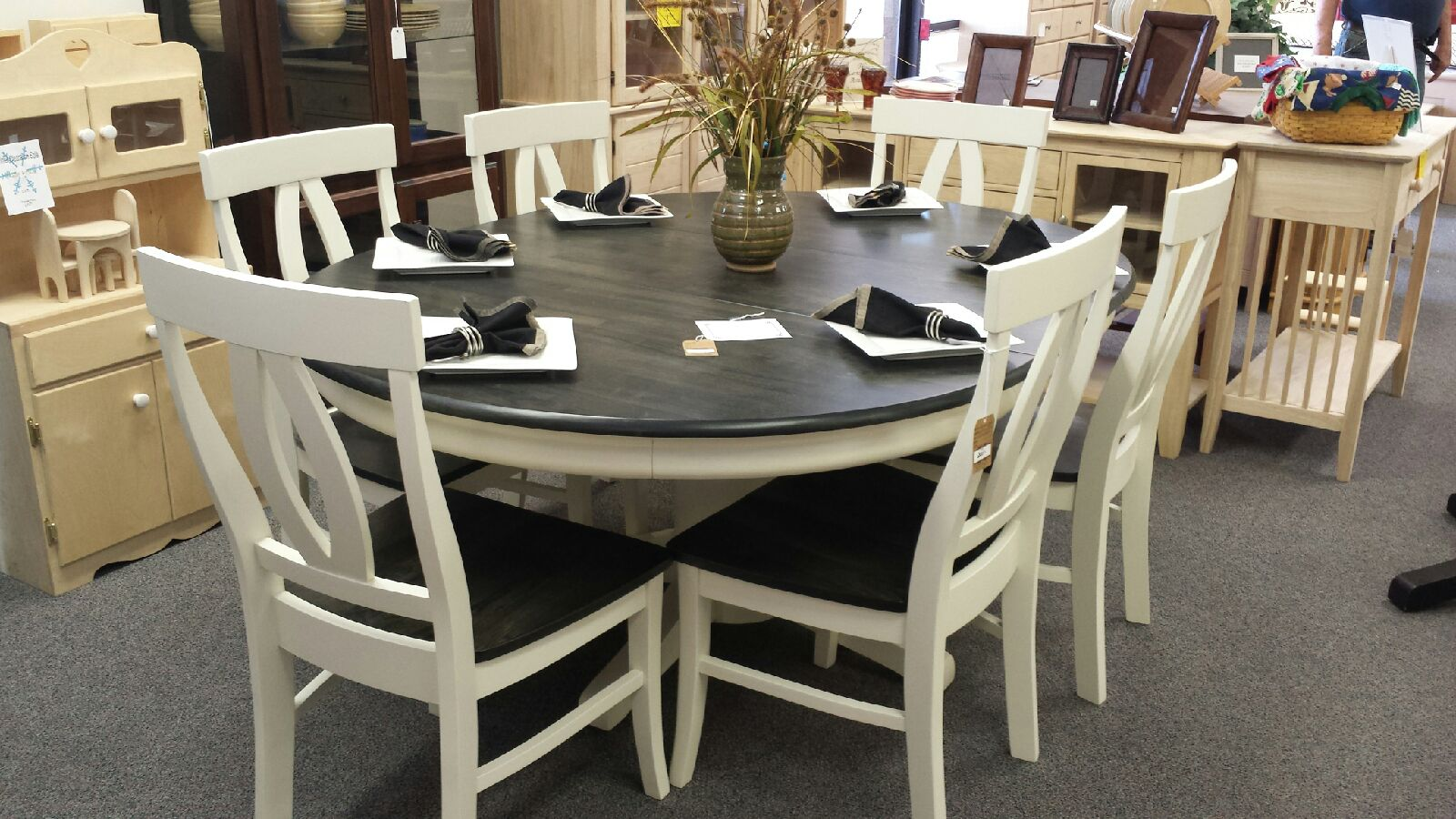 Our Six Piece Dining Room Set Finished In General Finishes Antique White  Milk Paint And Black Gel Stain. Stunningly Beautiful! Also A Pine Corner  Cabinet. ...