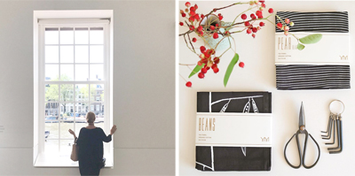 jurianne in the Hermitage Amsterdam + black organic tea towels