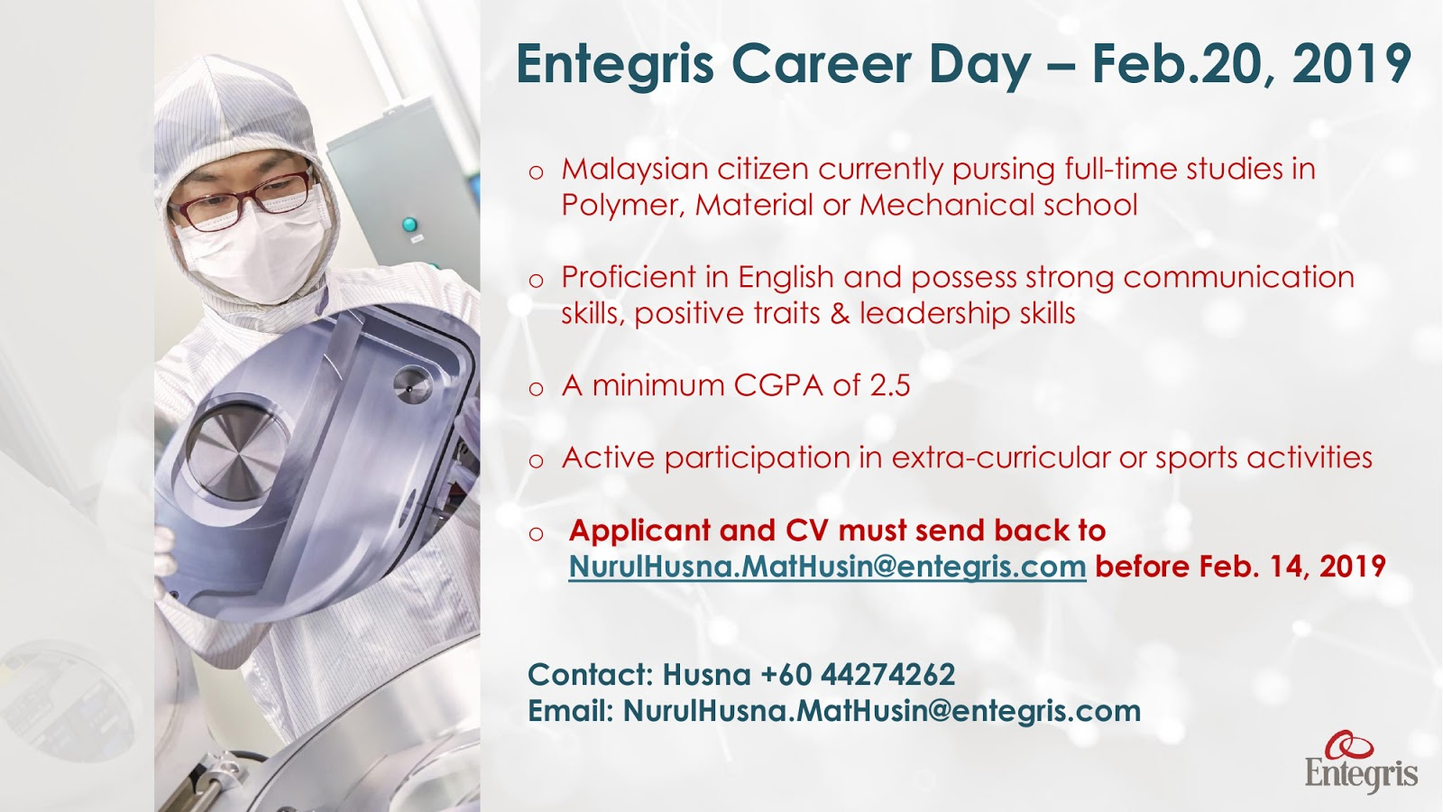 15/2/19: Entegris Career Day in USM | | Official | Career