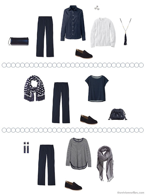 2 ways to wear navy pants from a Tote Bag Travel capsule wardrobe in navy and white