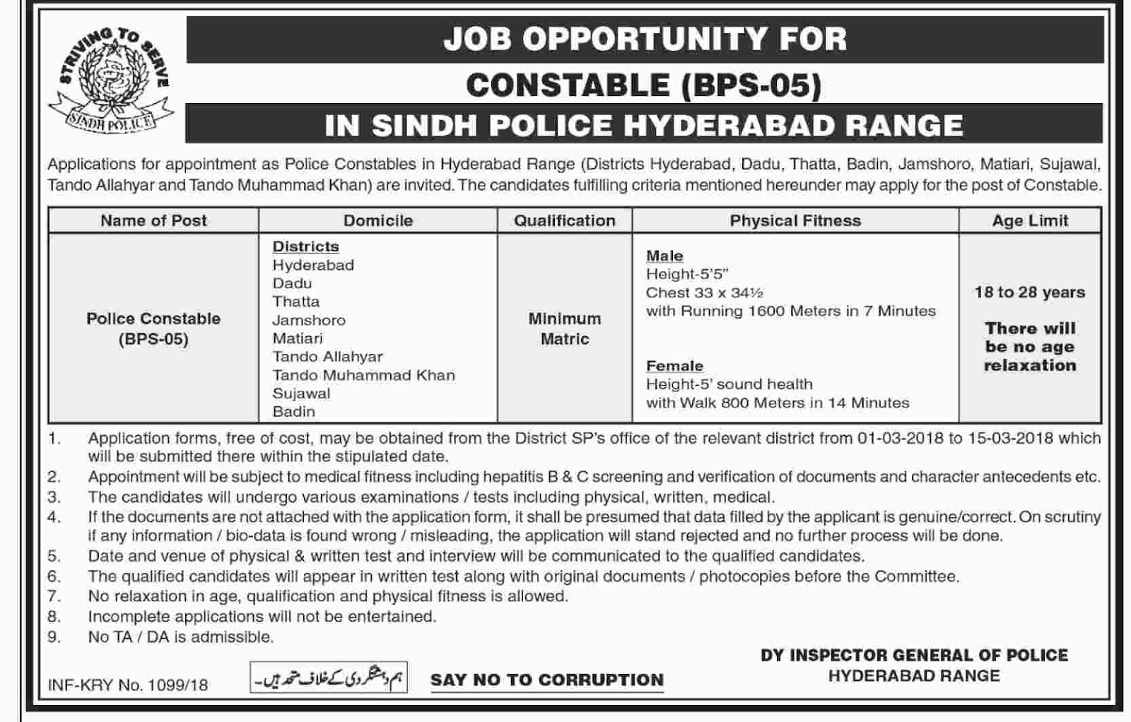 Jobs In  Sindh Police 2018