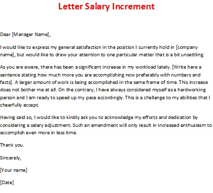 Request Letter For Salary Increment Template Examples – Request for Salary Increment Letter Format