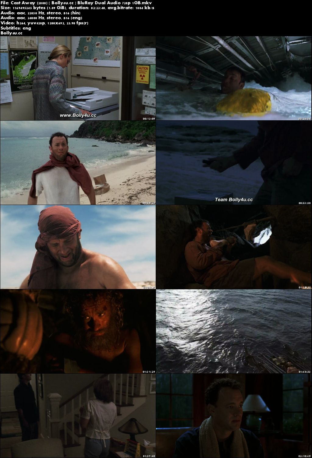 Cast Away 2000 BluRay 1Gb Hindi Dual Audio 720p Download