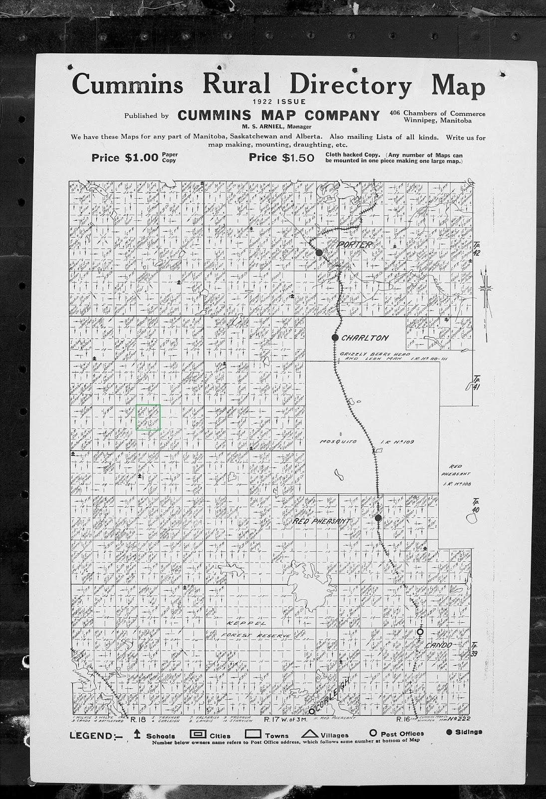Dodge Family History: Cummins Rural Directory Maps - Saskatchewan
