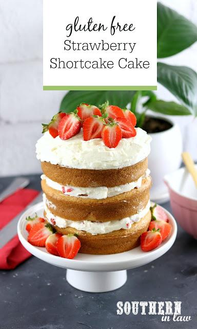 Easy Gluten Free Strawberry Shortcake Birthday Cake with Whipped Cream Frosting - gluten free, nut free, gluten free vanilla cake, easy birthday cake recipes