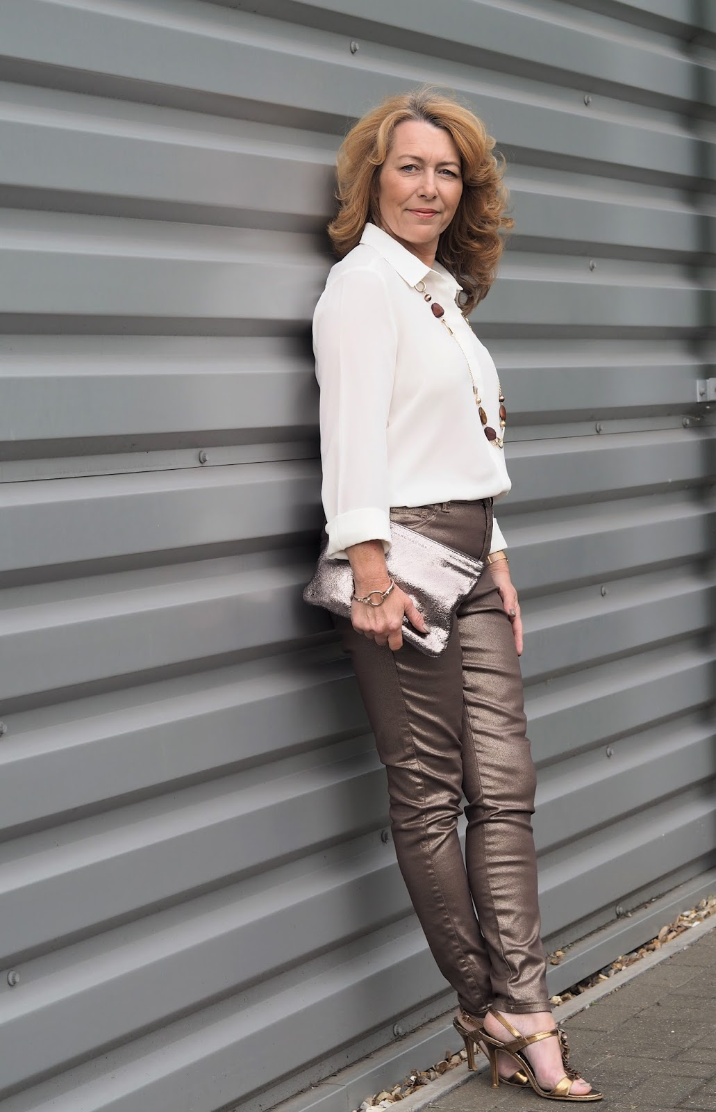 Elegant over-50s blogger Laurie from Vanity and Me in fantastic metallic trousers