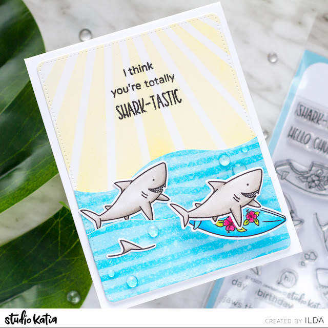 Shark-Tastic Birthday Wobbler Card for Studio Katia by ilovedoingallthingscrafty.com