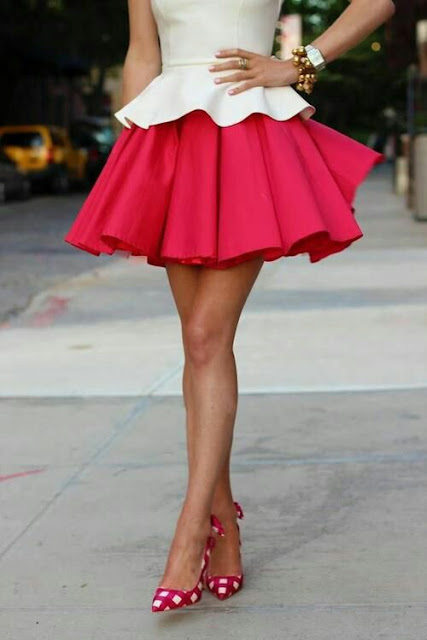 Full skirt white and pink dif shoes