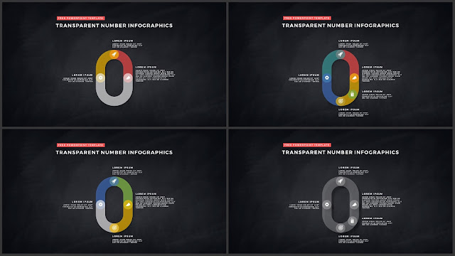 Infographic Transparent Design Elements for PowerPoint Templates in Dark background using Number 0