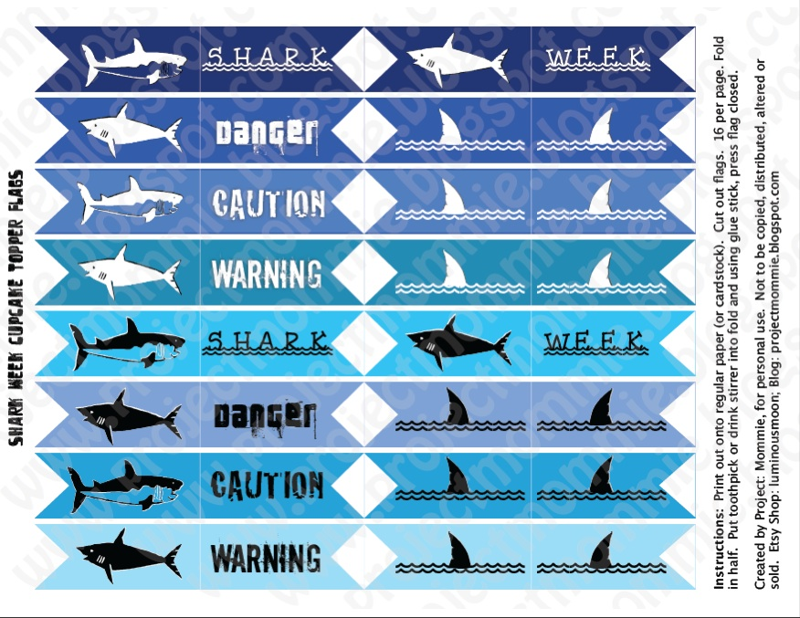 project mommie shark week cupcake topper flags for. Black Bedroom Furniture Sets. Home Design Ideas
