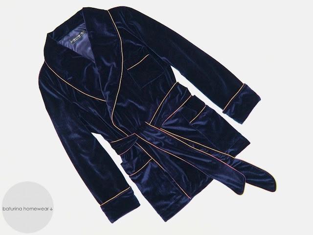 Mens velvet dressing gown smoking jacket robe