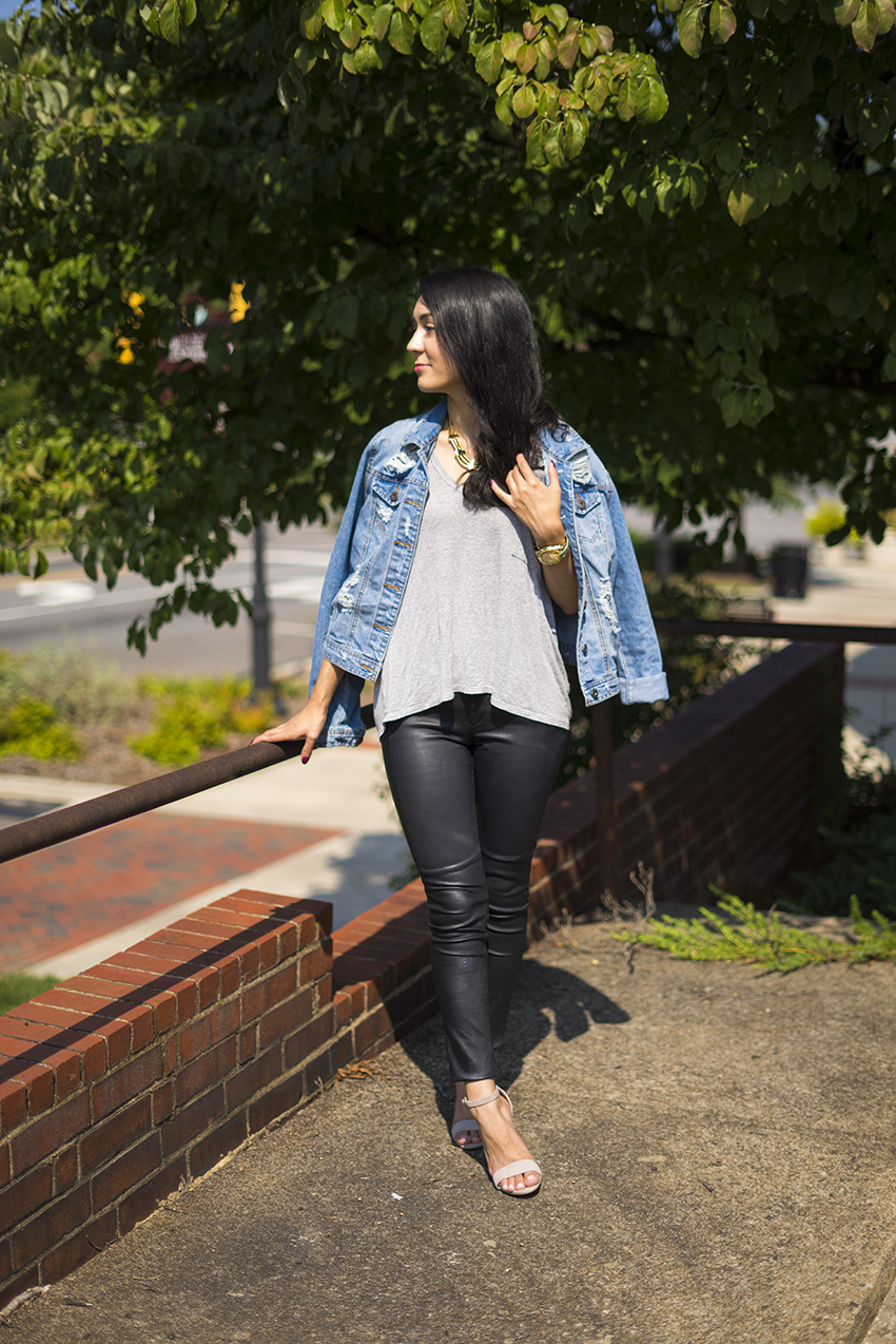 zara leather pants, grey tee, denim jacket, steve madden block heel sandals outfit