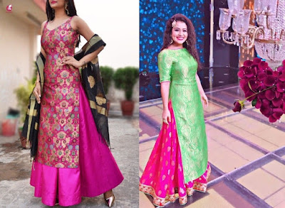 Regardless you are a Punjabi or not, these long silk kurtis with skirt are a definite eye-grabber.