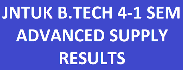JNTUK B.Tech 4-1 Sem Advanced Supply Exam Results