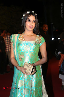 Actress Sanjjanaa Stills in Green Long Dress at Gemini TV Puraskaralu 2016 Event  0043.JPG