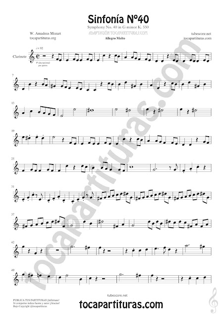 Hoja 2 Clarinete Partitura de Sinfonía Nº 40 Sheet Music for Clarinet Music Score PDF y MIDI aquí  Vídeo
