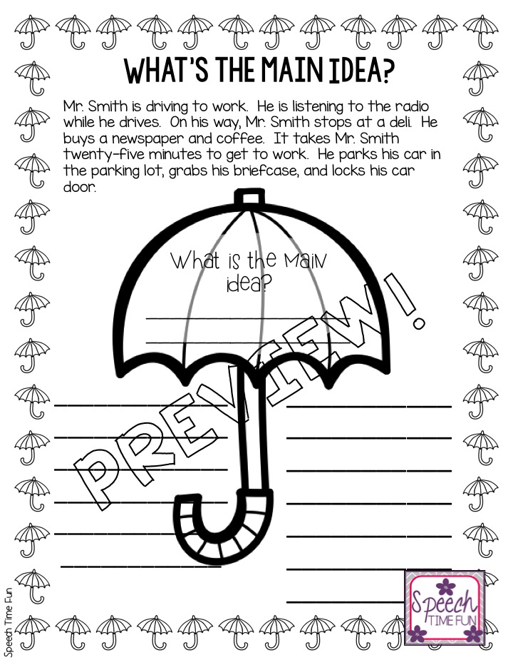 Teaching Main Idea Worksheets And Activities Speech