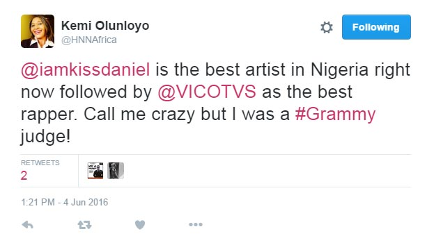 Madam Kemi Olunloyo says Kiss Daniel and Vic O are the best artistes in Nigeria
