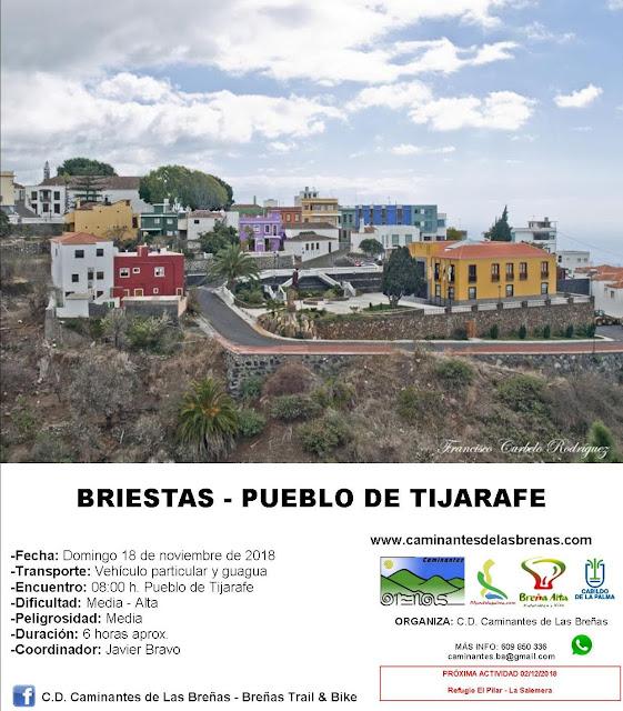 Caminantes de Las Breñas, Domingo 18 de Noviembre: Briestas - Pueblo de Tijarafe