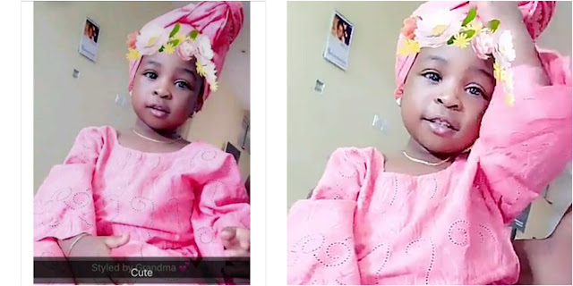 Davido's daughter, Imade looking cute in traditional attire (Photos)