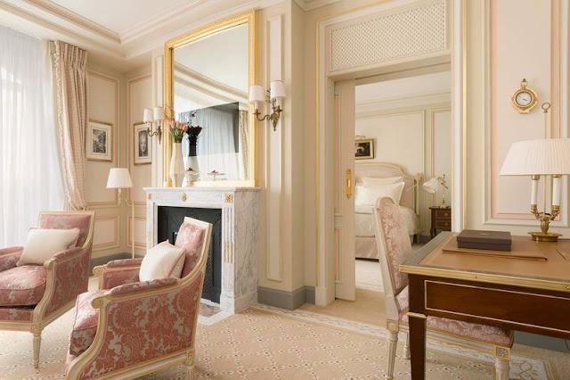Breathtaking feminine romantic pink suite interior renovated Ritz Paris