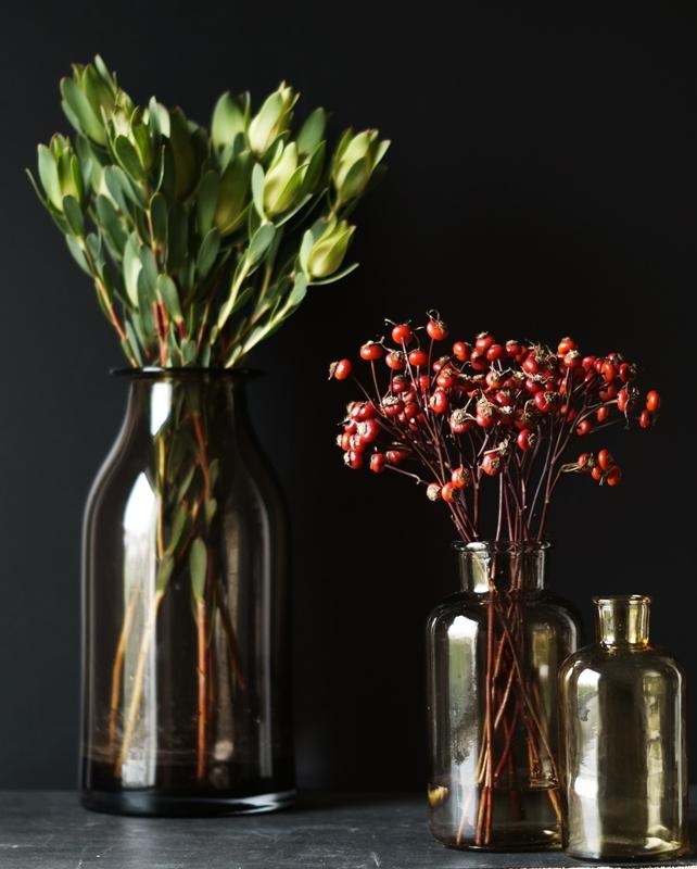 Blog + Fotografie by it's me! - Hagebutten und Protea, braune Glasflasche auf Schwarz