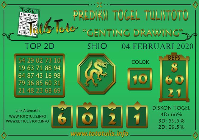 Prediksi Togel GENTING DRAWING TULISTOTO 04 FEBRUARI 2020