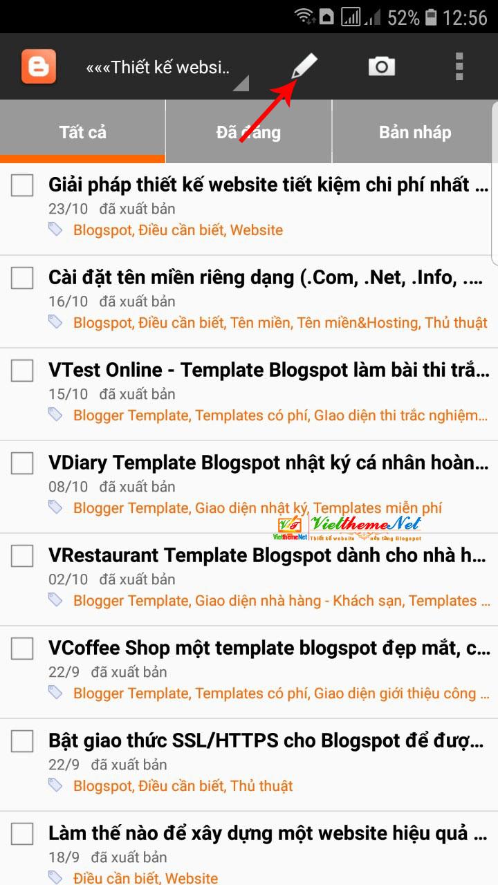 giao diện chính của ứng dụng Blogger