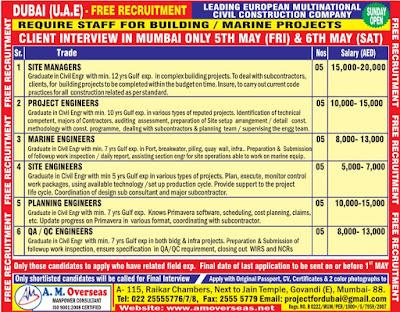 Free recruitment to European construction company in Dubai