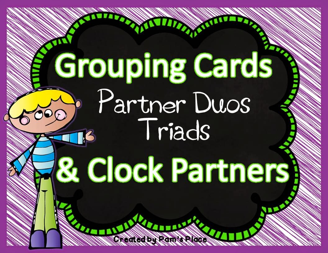 http://www.teacherspayteachers.com/Product/Grouping-Cards-Partner-Duos-TriadsClock-Partners-1192053