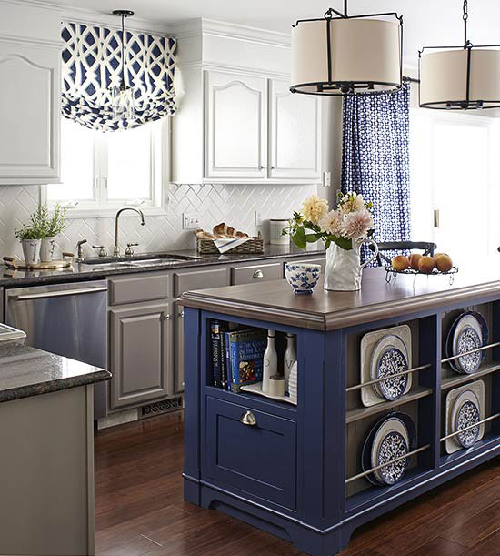 Blue%2Bis%2Btrendy%2Bfor%2Bkitchens Painted Kitchen Island Ideas With Posts on kitchen island with support beams, kitchen column ideas, kitchen island design ideas,