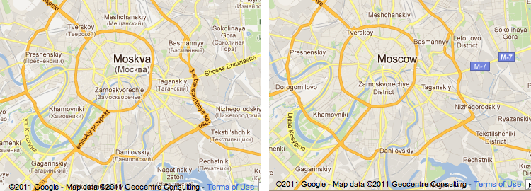 Google Lat Long: Single-language labels in Google Maps