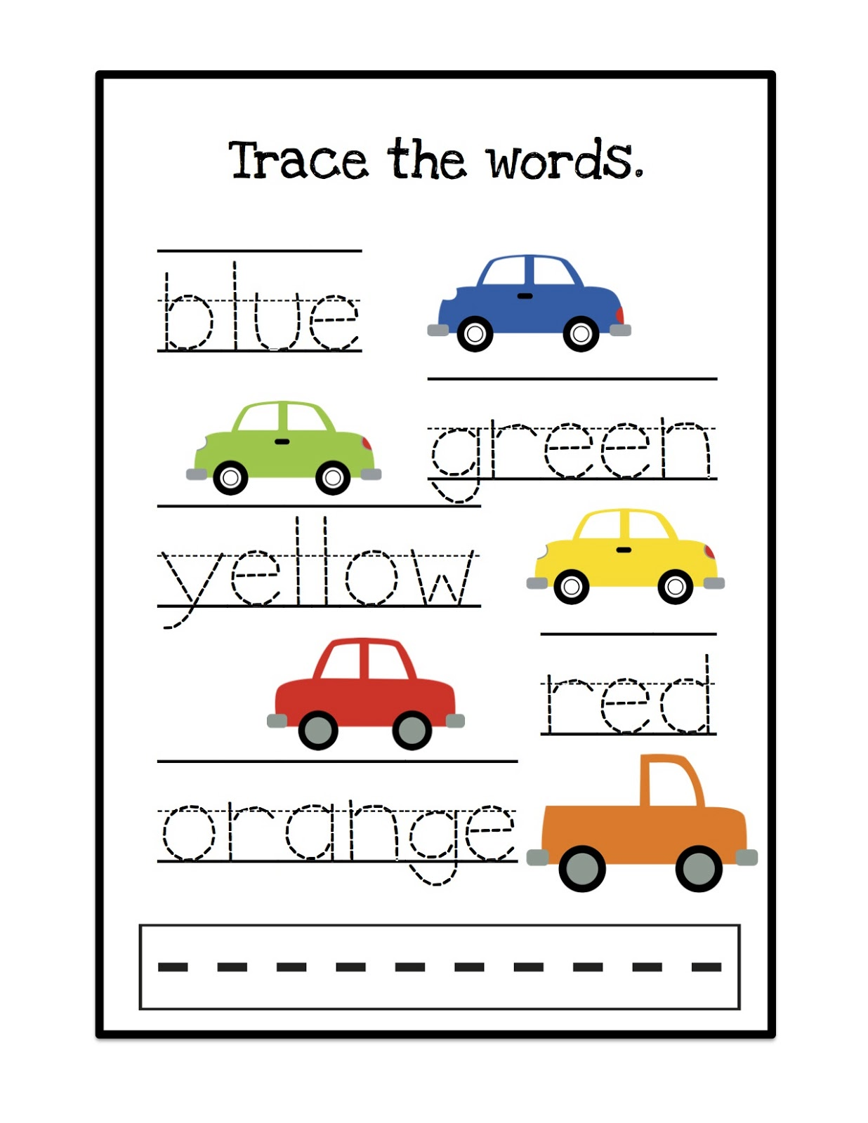 Cars Trace Words Printable