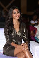 Pooja Hegde looks glamarous in deep neck sleevless short tight golden gown at Duvvada Jagannadham thank you meet function 113.JPG