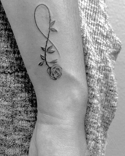 Rose Infinity Tattoo on Wrist