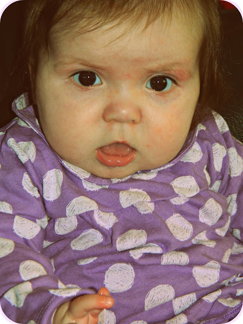 Baby Girl six months old purple polka dots