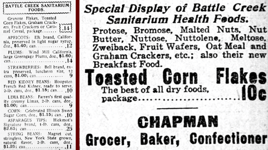 Battle Creek Toasted Corn Flakes, advertising 1903-1905