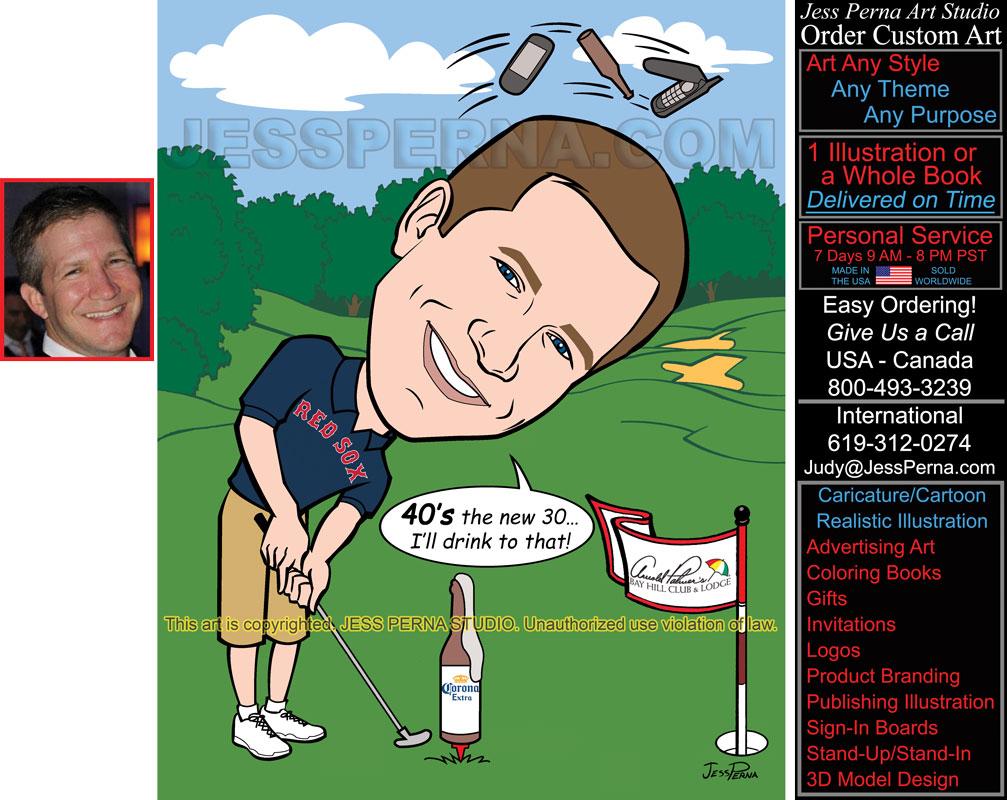 Order Golfer 40th Birthday Party Invitation Caricature