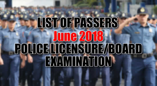 List of Passers: June 2018 Criminologists Licensure Examination PRC
