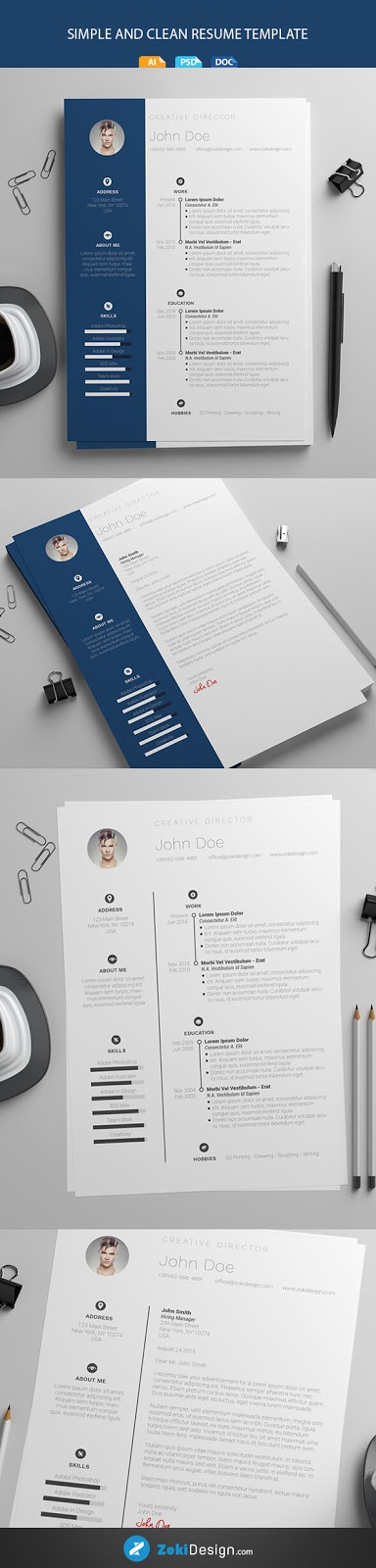 Download Template CV Word 100% Gratis - Free Simple and Clean Microsoft Word Resume Template