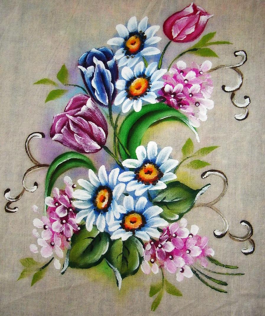 Pintura em tecido como fazer passo a passo riscos e - Pinturas para pintar tela ...