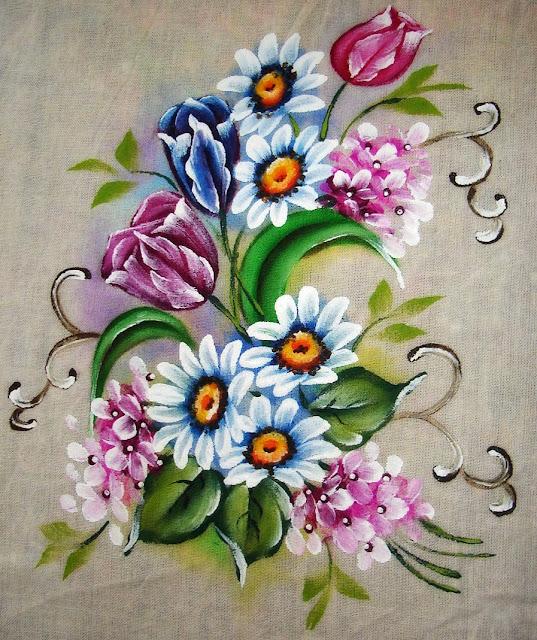 pintura em tecido flores tulipas margaridas