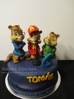 Bolo de aniversário com o Alvin e os Esquilos