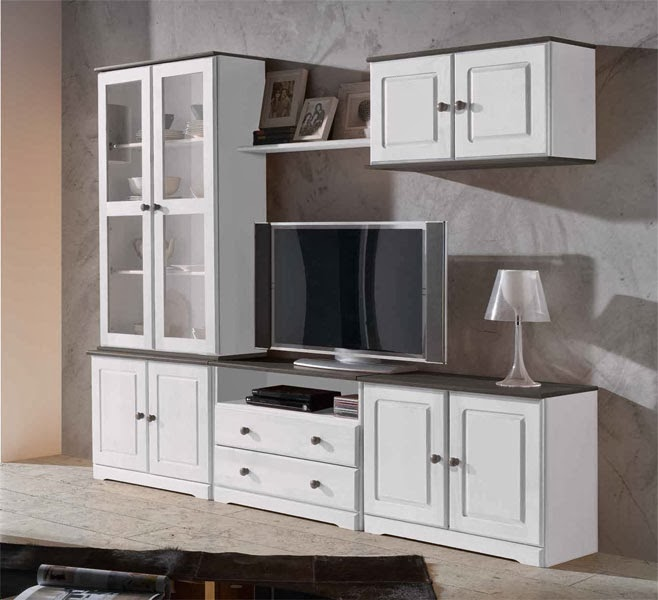 mueble modular blanco salon, mueble salon, composicion salon blanca