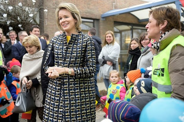 Queen Mathilde of Belgium visits the Asster psychiatric hospital part of the week of cares, in Sint-Truiden