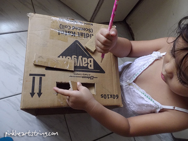 DIY cardboard box for kids