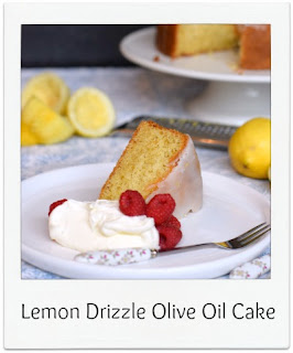 This lemon drizzle cake, made with olive oil in place of the usual butter, is perfect for a mid-afternoon treat.  What it lacks in aesthetic qualities it makes up for with flavour and lightness.